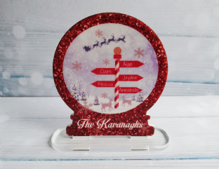 North Pole Signpost Snow Globe Standing Plaque